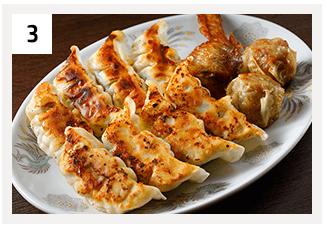 ニンニク餃子(6個)&手羽餃子(2個)&揚げシューマイ(4個)(ニンニク味噌付)